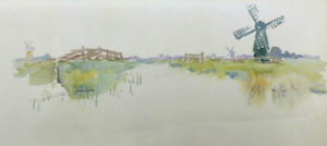 Gari Melchers (American, 1860-1932), Sketch of Landscape with Canal and Windmills, undated, watercolor on paper; Gari Melchers Home and Studio, University of Mary Washington