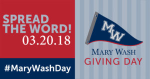 The second annual Mary Wash Giving Day will take place on Tuesday, March 20.