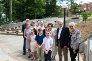 Members of the Heslep family, including Donald B. and Josephine McPherson Heslep '56 (second and third from right) at the dedication of the HEslep Amphitheatre. The Hesleps donated $1.25 million to the project. Photo by Terry Cosgrove.