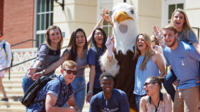 Students celebrating with Sammy D. Eagle