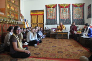 UMW students got a special audience with the Tibetan Buddhist teacher Chokyi Nyima Rinpoche, recognized as the seventh reincarnation of a Tibetan master. Photo by Dan Hirshberg.