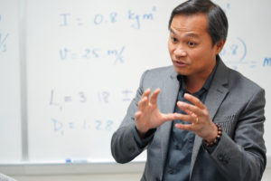 UMW Professor of Physics Hai Nguyen is taking a break from teaching classes to complete a prestigious American Association for the Advancement of Science fellowship. Photo by Suzanne Rossi.