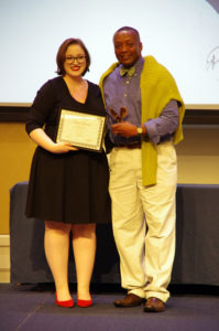 Erin Shaw, winner of the Grace Mann Launch Award, with Cedric Rucker, associate vice president and dean of Student Life, at the 2019 Eagle Awards ceremony. Photo by Noah Stroble.