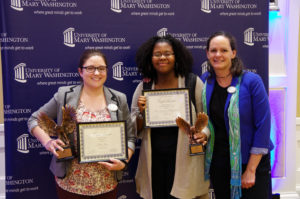 (From L-R): Joanna Raucci, associate director of the James Farmer Multicultural Center; Aminah Abdullahi; and Juliette Landphair, vice president of Student Affairs. Raucci won the Giving Tree Award, and Abdullahi accepted the Outstanding Philanthropy Program Award on behalf of Women Empowerment Through the Arts. Photo by Noah Stroble.