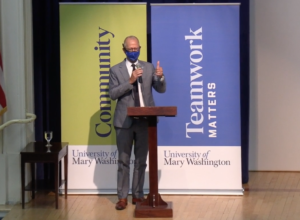 UMW President Troy Paino spoke of the University's ongoing efforts to refine and reinforce the Matter brand during the recent All-University address.