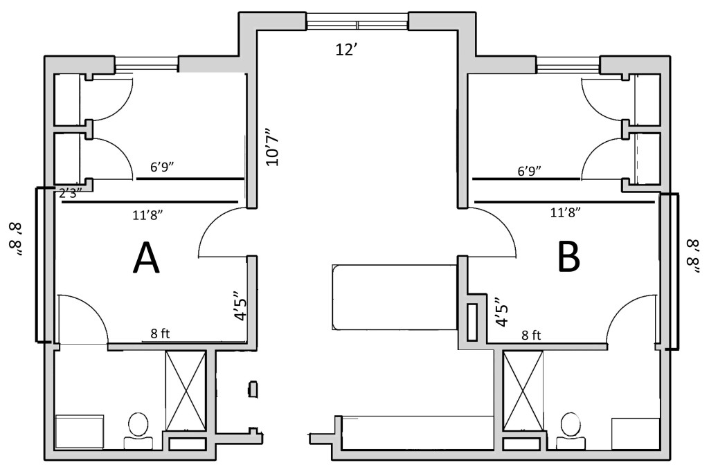 Two bedroom floorplan for Eagle Landing